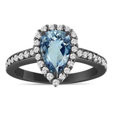 1.75 Carat Pear Shape Aquamarine Engagement Ring, Aquamarine and Diamonds Wedding Ring, Vintage 14K Black Gold Certified Unique Handmade
