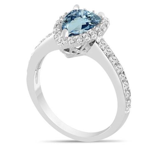 Platinum Aquamarine Engagement Ring, Pear Shape Aquamarine and Diamonds Wedding Ring, Certified 1.75 Carat Pave Halo Unique Handmade
