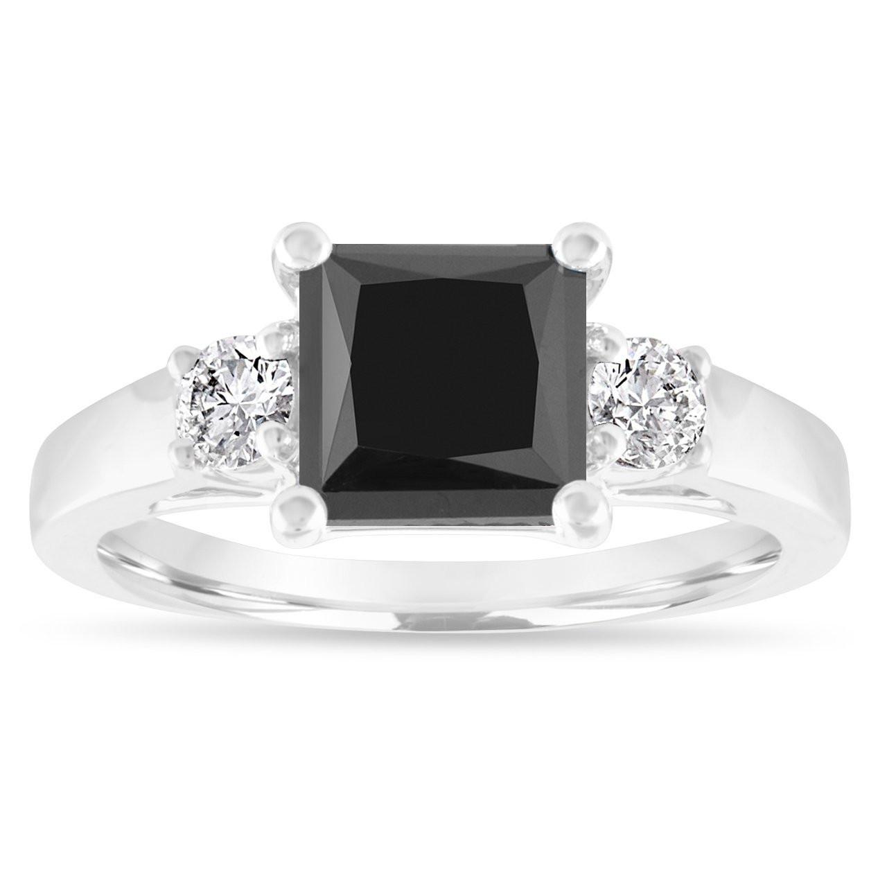 230caratblackdiamondengagementringprincesscutblackandwhitediamondsthreestoneengagementringweddingring14kwhitegold083281535747004: Black Rings Wedding Rings At Reisefeber.org