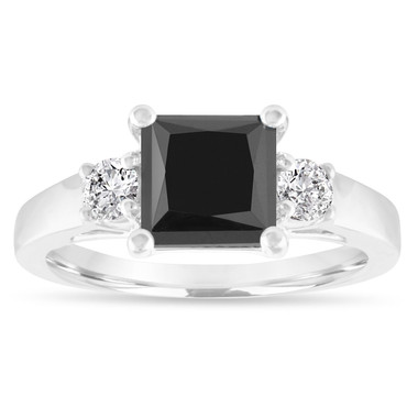 2.30 Carat Black Diamond Engagement Ring, Princess Cut Black and White Diamonds Three Stone Engagement Ring, Wedding Ring, 14K White Gold