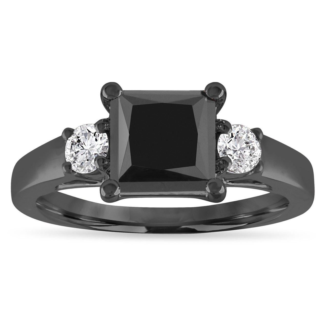 vintage black diamond engagement ring princess cut black