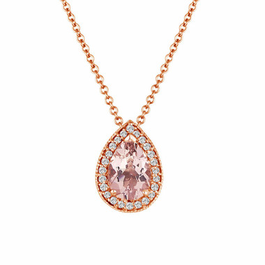 Morganite Pendant Necklace Rose Gold, Pear Shape Morganite & Diamond Pendant Necklace, 0.84 Carat Handmade micro pave set