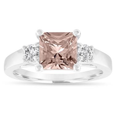 Princess Cut Morganite Engagement Ring, Morganite and Diamonds Three Stone Wedding Ring, 1.80 Carat 14K White Gold Handmade