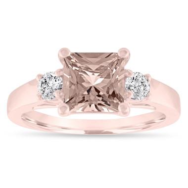 Princess Cut Morganite Engagement Ring Rose Gold, Morganite & Diamonds Three Stone Engagement Ring, 1.80 Carat Handmade