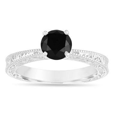 1.20 Carat Black Diamond Solitaire Engagement Ring, Vintage Engagement Ring, Filigree Engraved Engagement Ring, 14k White Gold Handmade