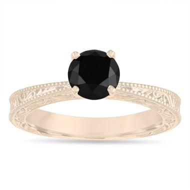 Black Diamond Solitaire Engagement Ring, 1.20 Carat Vintage Engagement Ring, Filigree Engraved Engagement Ring, 14k Yellow Gold Handmade