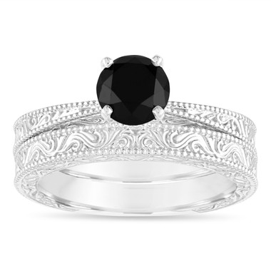 1.20 Carat Black Diamond Engagement Ring Set, Vintage Wedding Rings Sets, Filigree Engraved Solitaire Engagement Ring Set, 14k White Gold