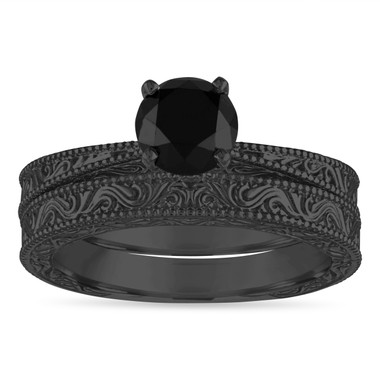 Vintage Black Diamond Engagement Ring Set, 1.20 Carat Wedding Rings Sets, Filigree Engraved Solitaire Engagement Ring Set, 14k Black Gold