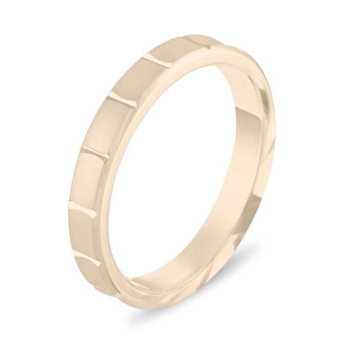 14K Yellow Gold Wedding Band, 3 mm Wedding Ring, Womens Wedding Ring, Matte Finish Anniversary Band Handmade