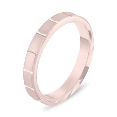 14K Rose Gold Wedding Band, 3 mm Wedding Ring, Womens Wedding Ring, Matte Finish Anniversary Band Handmade