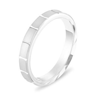 14K White Gold Wedding Band, 3 mm Wedding Ring, Womens Wedding Ring, Matte Finish Anniversary Band Handmade