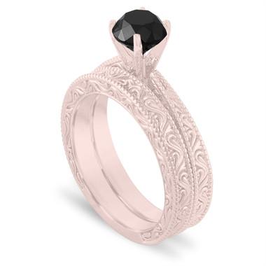 Rose Gold Black Diamond Engagement Ring Set, 1.20 Carat Vintage Wedding Rings Sets, Filigree Engraved Solitaire Engagement Ring Set, Unique