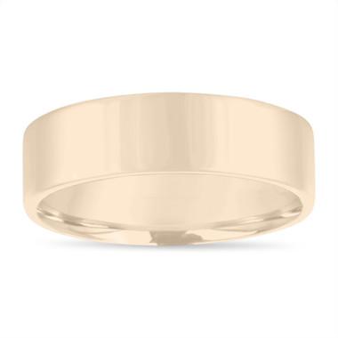 Mens Gold Wedding Band, Mens Flat Wedding Ring, 6 mm 14K Yellow Gold Handmade