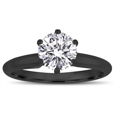 D Color Internally Flawless Diamond Solitaire Engagement Ring Vintage Style 14K Black Gold GIA Certified 0.50 Carat Handmade