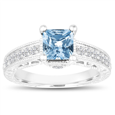 Princess Cut Blue Topaz Engagement Ring, Wedding Ring, 1.40 Carat 14k White Gold Unique Vintage Antique Style Handmade Certified