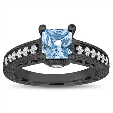 1.40 Carat Blue Topaz Engagement Ring, Princess Cut Engagement Ring, 14k Black Gold Unique Vintage Antique Style Handmade Certified