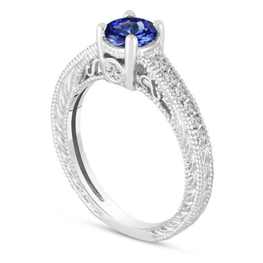 Tanzanite Engagement Ring, With Diamonds Wedding Ring 14K White Gold Unique Vintage Style 1.05 Carat Pave Handmade Certified