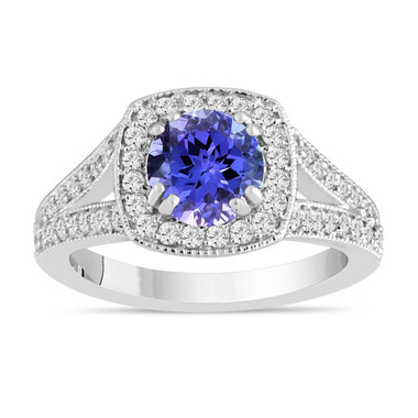 Tanzanite and Diamond Engagement Ring, Halo Engagement Ring, 14K White Gold Unique 1.71 Carat Pave Handmade Certified