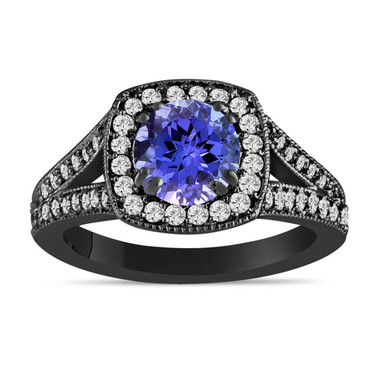 Tanzanite Engagement Ring, Vintage Diamond Engagement Ring, 14K Black Gold Unique 1.71 Carat Pave Handmade Certified