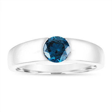 Blue Diamond Mens Wedding Ring, Mens Solitaire Ring, Womens Engagement Ring, 14K White Gold Handmade 0.75 Carat