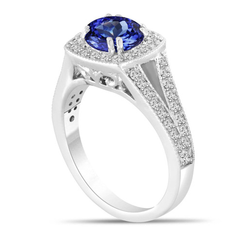 Platinum Tanzanite and Diamond Engagement Ring, Halo Engagement Ring, Unique 1.71 Carat Pave Handmade Certified