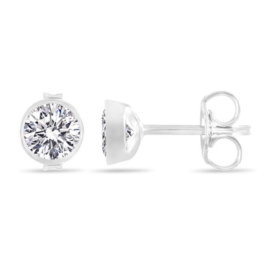 D Color Internally Flawless Diamond Stud Earrings, 1 Carat Bezel Set Earrings, 14K White Gold GIA Certified Unique Handmade