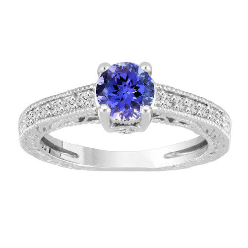 Platinum Tanzanite Engagement Ring, With Diamonds Wedding Ring, Unique Vintage Style 1.05 Carat Pave Handmade Certified