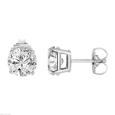 1 Carat Diamond Stud Earrings 14K White Gold Handmade Certified