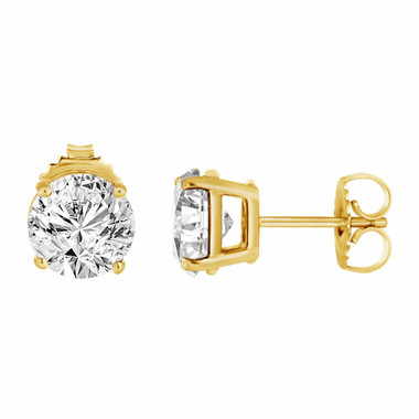1 Carat Diamond Stud Earrings 14K Yellow Gold Handmade Certified