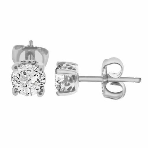 1 Carat Diamond Stud Earrings, 14K White Gold Diamonds Earrings, Handmade Gallery Designs Unique Certified