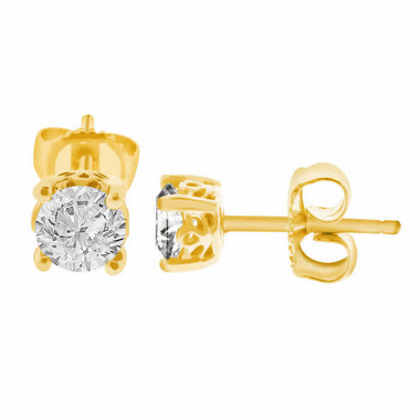 1 Carat Diamond Stud Earrings, 14K Yellow Gold Diamonds Earrings, Handmade Gallery Designs Unique Certified