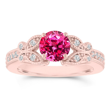 Pink Sapphire Butterfly Engagement Ring, Sapphire Wedding Ring Rose Gold, 1.20 Carat Anniversary Ring, Certified Pave Unique