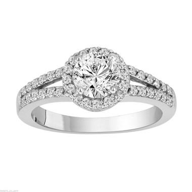 1.03 Carat Diamond Engagement Ring, Natural Diamond Wedding Ring, Halo Pave Certified 14k White Gold handmade