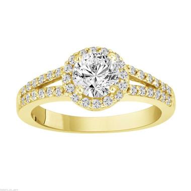 Diamond Engagement Ring Yellow Gold, Natural Diamond Wedding Ring, Halo Pave 1.03 Carat Certified Handmade