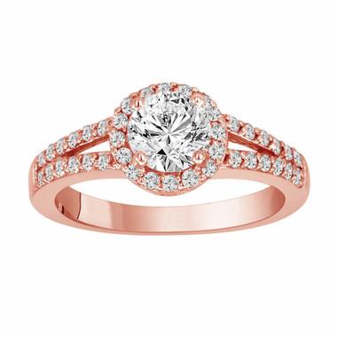 Diamond Engagement Ring Rose Gold, Diamond Wedding Ring, Halo Pave Certified 1.03 Carat Handmade