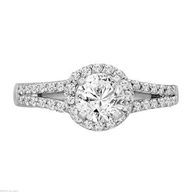 Platinum Diamond Engagement Ring, 1.03 Carat Halo Engagement Ring, Pave Certified Handmade