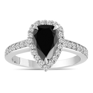 Pear Shaped Black Diamond Engagement Ring, 1.75 Carat Black Diamond Wedding Ring, Halo Bridal Ring, 14k White Gold Unique Handmade Certified