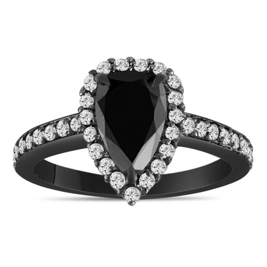 1.75 Carat Pear Shape Black Diamond Engagement Ring, Black Diamond Wedding Ring, Halo Vintage Ring, 14k Black Gold Unique Handmade Certified