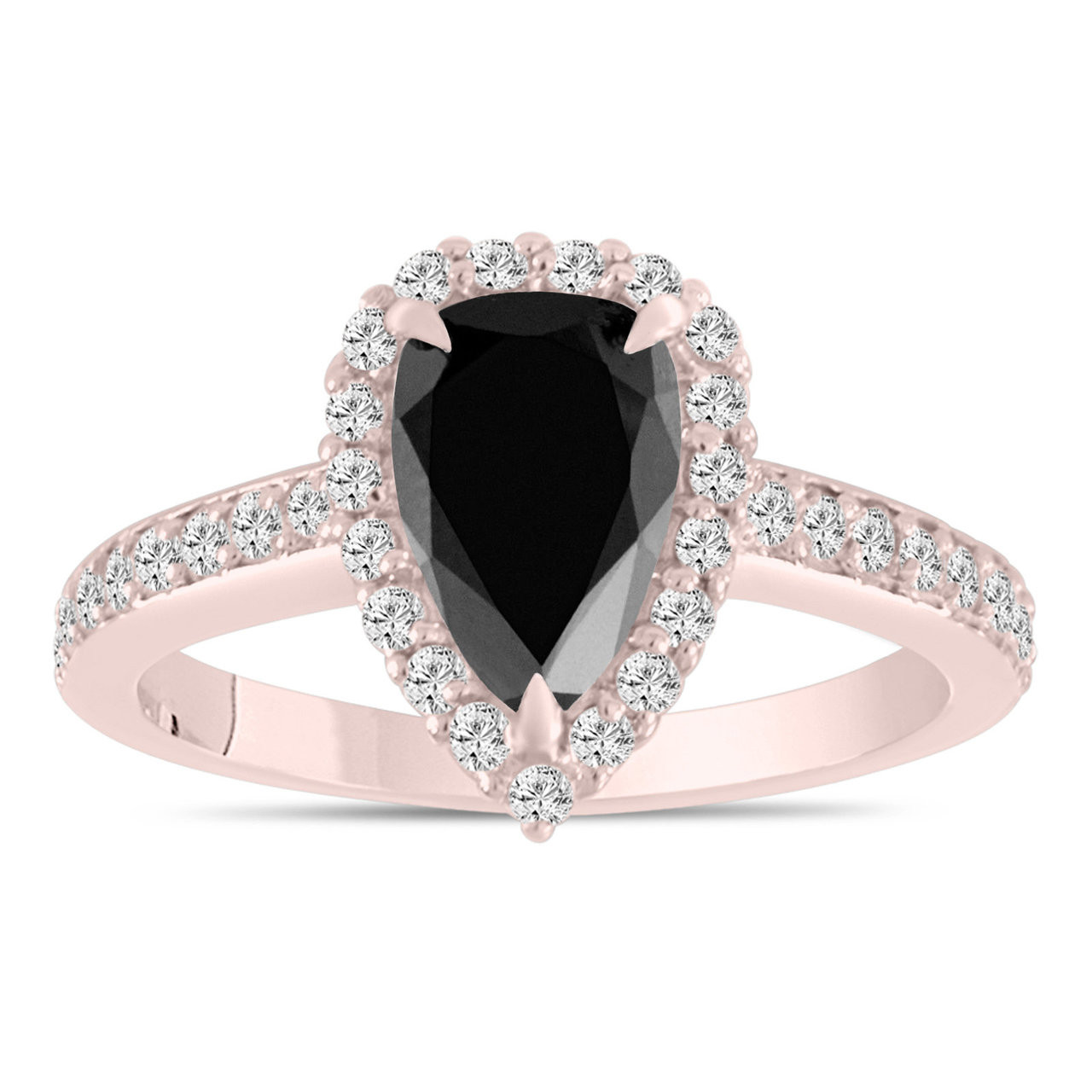 39d886dfd 2 Carat Pear Shaped Black Diamond Engagement Ring Rose Gold ...