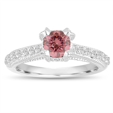 0.75 Carat Pink Diamond Engagement Ring, Fancy Pink Diamond Bridal Ring, 14K White Gold Vintage Style Certified Handmade