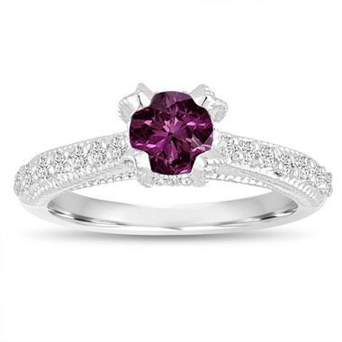 0.76 Carat Purple Diamond Engagement Ring, Vintage Wedding Ring, 14K White Gold Certified Handmade