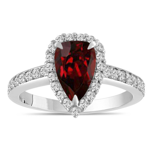 2 Carat Pear Shaped Garnet Engagement Ring, Garnet and Diamonds Wedding Ring, Garnet Bridal Ring, 14k White Gold Unique Handmade Certified