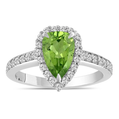 1.59 Carat Pear Shaped Peridot Engagement Ring, Peridot and Diamonds Wedding Ring, Bridal Ring, 14k White Gold Unique Handmade Certified