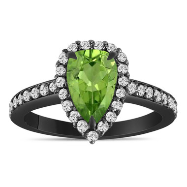 Pear Shaped Peridot Engagement Ring, Peridot and Diamonds Vintage Wedding Ring, 1.59 Carat 14k Black Gold Unique Handmade Certified