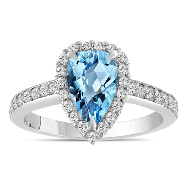 2 Carat Pear Shaped Blue Topaz Engagement Ring, Blue Topaz and Diamonds Wedding Ring, 14k White Gold Unique Handmade Certified