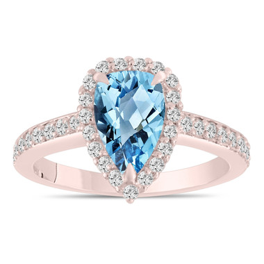 Pear Shaped Blue Topaz Engagement Ring, Blue Topaz and Diamonds Wedding Ring, 14k Rose Gold 2 Carat Unique Handmade Certified