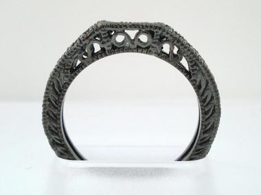 VS2 Diamond Curve Wedding Band Vintage Style 14K Black Gold  0.12 Carat Handmade