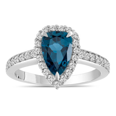 Pear Shaped London Blue Topaz Engagement Ring 2 Carat 14k White Gold Unique Handmade Certified