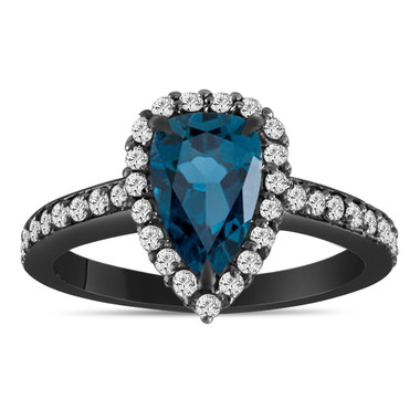 Vintage Pear Shaped London Blue Topaz Engagement Ring 2 Carat 14k Black Gold Unique Handmade Certified