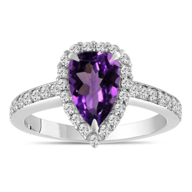 Pear Shaped Amethyst Engagement Ring 1.65 Carat 14k White Gold Unique Handmade Certified
